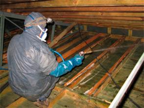 operario de Arumia tratando la madera anti carcoma